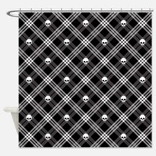 Gothic Skull Plaid Shower Curtain