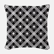 Gothic Skull Plaid Woven Throw Pillow