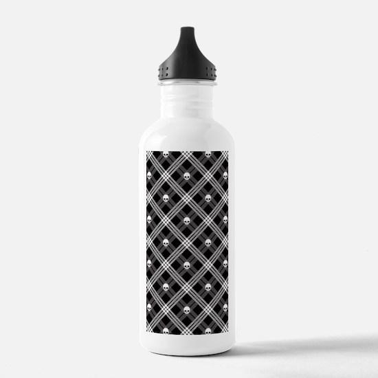 Gothic Skull Plaid Water Bottle
