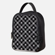 Gothic Skull Plaid Neoprene Lunch Bag