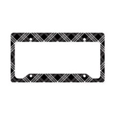 Gothic Skull Plaid License Plate Holder