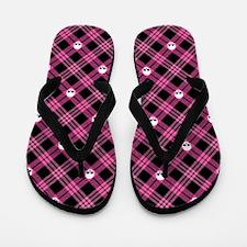Pink Skull Plaid Flip Flops