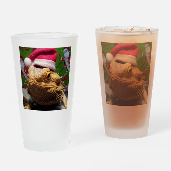 Beardie Santa Hat Drinking Glass
