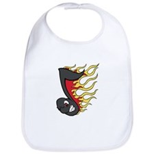 Flaming Eighth Note Bib
