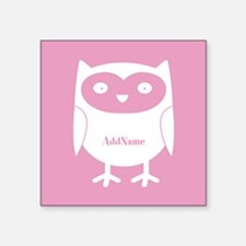 """Pink Girly Owl Personalized Square Sticker 3"""" x 3"""""""