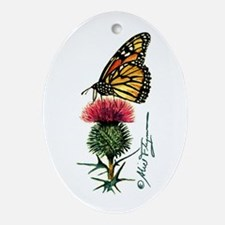 Monarch Butterfly and Thistle Ornament (Oval)