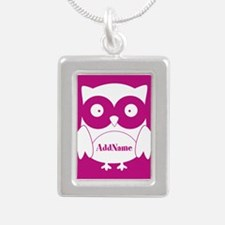 Medium Violet Red Owl Pe Silver Portrait Necklace