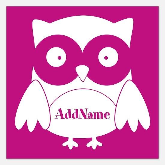 Medium Violet Red Owl Perso Invitations