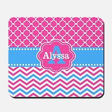 Pink Blue Chevron Quatreofoil Monogram Mousepad