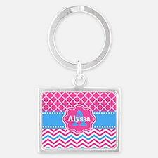 Pink Blue Chevron Quatreofoil Monogram Keychains