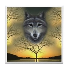 Wolf 'Shaman's Dream' White Border ~Tile Coaster