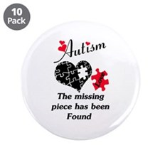 "Autism - The Missing Piece H 3.5"" Button (10 pack)"