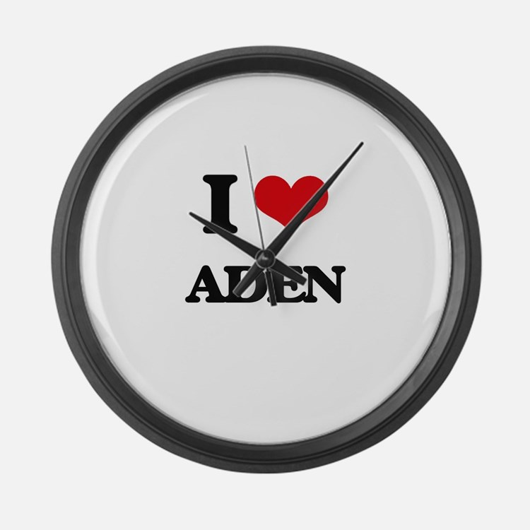 I Love Aden Large Wall Clock