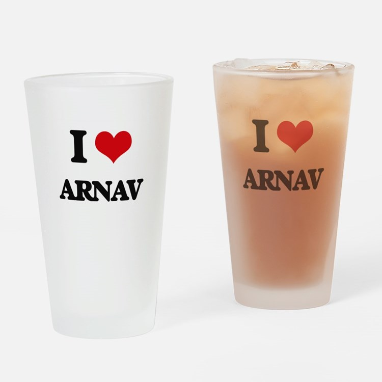 I Love Arnav Drinking Glass