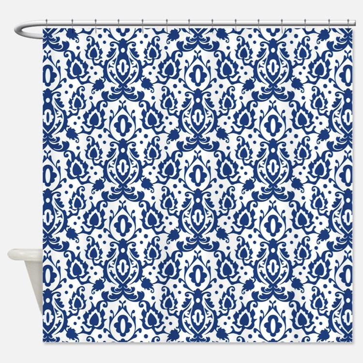cobalt blue and white shower curtains | cobalt blue and white