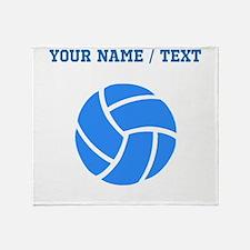 Custom Blue Volleyball Throw Blanket