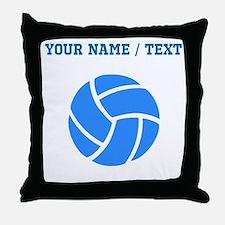Custom Blue Volleyball Throw Pillow