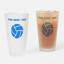 Custom Blue Volleyball Drinking Glass