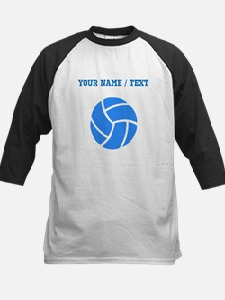 Custom Blue Volleyball Baseball Jersey