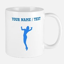 Custom Blue Volleyball Serve Silhouette Mugs