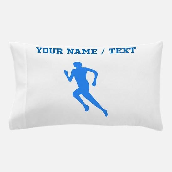Custom Blue Runner Silhouette Pillow Case