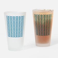 Cornflower Blue Chevron Weave Drinking Glass
