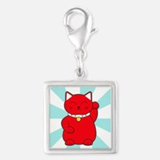 Red Lucky Cat Silver Square Charm