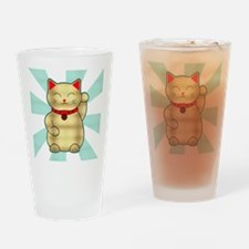 Gold Lucky Cat Drinking Glass