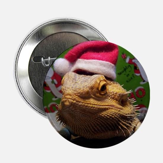 "Beardie Santa Hat 2.25"" Button"
