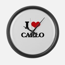 I Love Carlo Large Wall Clock