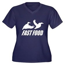 Fast food wa Women's Plus Size V-Neck Dark T-Shirt