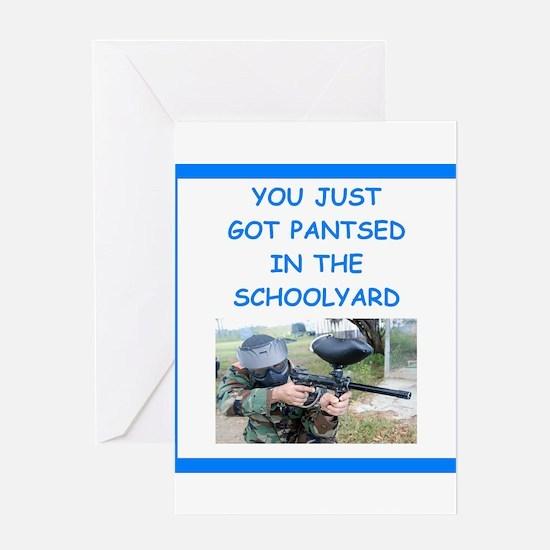 paintball joke Greeting Cards