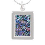 Butterfly Leaves Silver Portrait Necklace