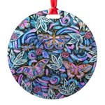 Butterfly Leaves Round Ornament