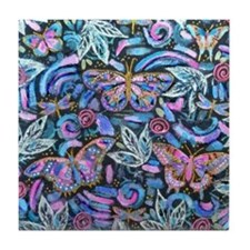 Butterfly Leaves Tile Coaster