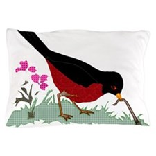 Spring Red Robin Getting Worm Pillow Case