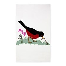 Spring Red Robin Getting Worm Area Rug