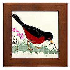 Spring Red Robin Getting Worm Framed Tile