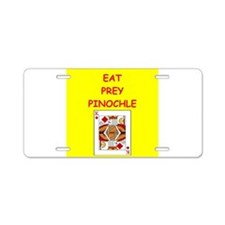 pinochle joke Aluminum License Plate