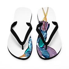 Iridescent Scissortail Hummingbird Flip Flops