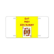gin rummy joke Aluminum License Plate