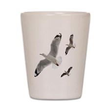 3 Gulls in Flight copy Shot Glass