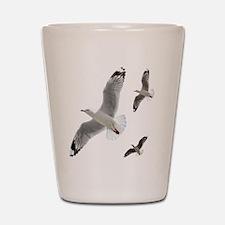 3 Gulls in Flight copy Shot Glass