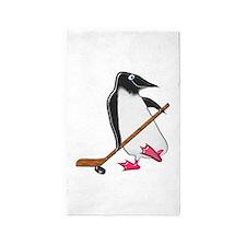 Penguin Hockey Player Area Rug