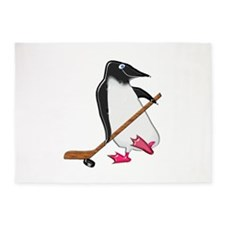 Penguin Hockey Player 5'x7'Area Rug