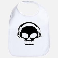 Dj Dubstep Skull Headphones Dead Music Skeleto Bib