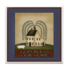 God Bless Our Home Tile Coaster