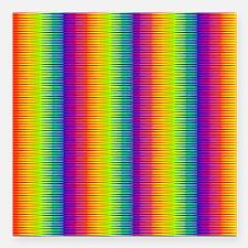 "Wild Zany Rainbow Menage Square Car Magnet 3"" x 3"""