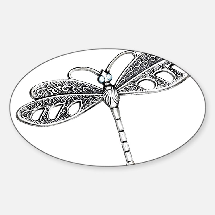 Metallic Silver Dragonfly Decal