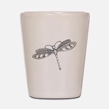 Metallic Silver Dragonfly Shot Glass
